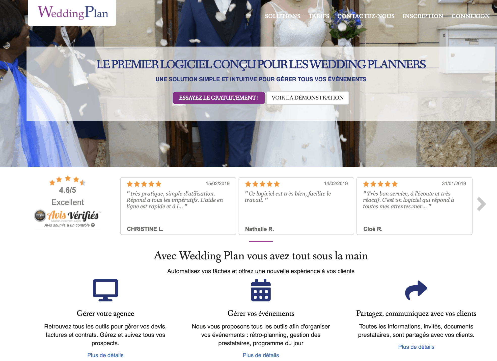 Home du site wedding plan